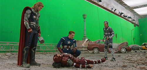 90% of the background and 50% of the Avengers will be added in post.